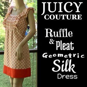 ▪️JUICY COUTURE▪️Ruffle & Pleat Geo Silk Dress
